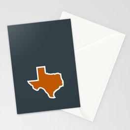 Texas Outline in Burnt Orange, Longhorns Stationery Cards