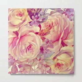 soft vintage roses Metal Print