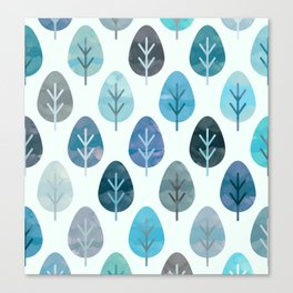 Watercolor Forest Pattern #2 Canvas Print