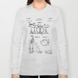 Drum Set Patent - Drummer Art - Black And White Long Sleeve T-shirt