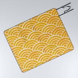 Japanese Seigaiha Wave – Marigold Palette Picnic Blanket