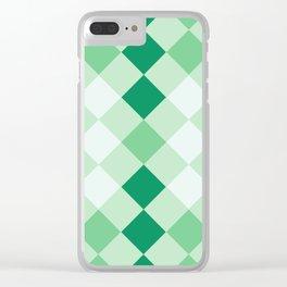 Shamrock Green Diagonal Plaid Pattern Clear iPhone Case