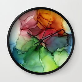 Stormy Spectrum | Abstract Rainbow Painting Wall Clock