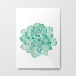 Watercolor Succulent print in seafoam green Metal Print