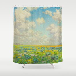 Granville Redmond Spring Antelope Valley Beautiful Landscape Painting Blue Sky Green Flower Filled F Shower Curtain