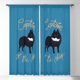 Captain Schipperke (Blue and Beige) Blackout Curtain