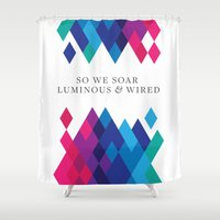 coldplay Shower Curtains featuring So We Soar Luminous & Wired by Arnaldo Quintini