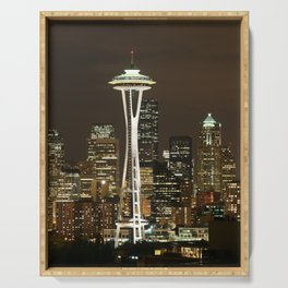 Seattle Space Needle at Night - City Lights Serving Tray