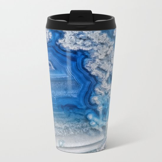 Blue whte agate crystal Metal Travel Mug