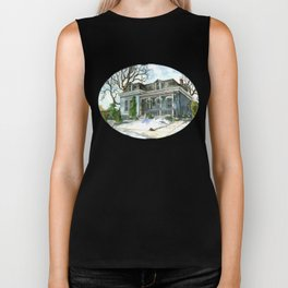 A Cozy Winter Cottage Biker Tank