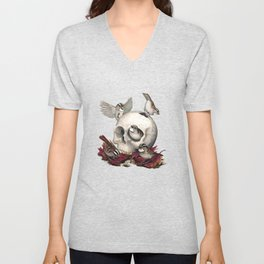 White-throated Sparrows Forage Amongst Human Remains Unisex V-Neck
