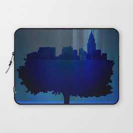 Point of view on the city blue Laptop Sleeve