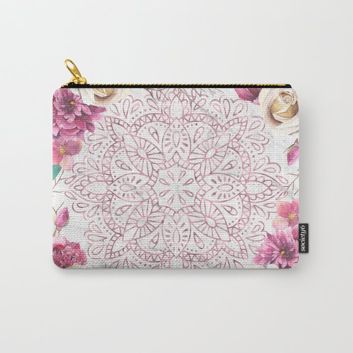 Rose Gold Mandala Garden on Marble Carry-All Pouch