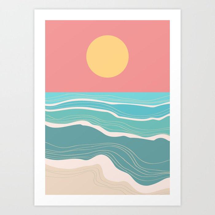 Crashing wave on sunny bay Art Print