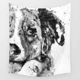 Black and White Half Faced Border Collie Wall Tapestry
