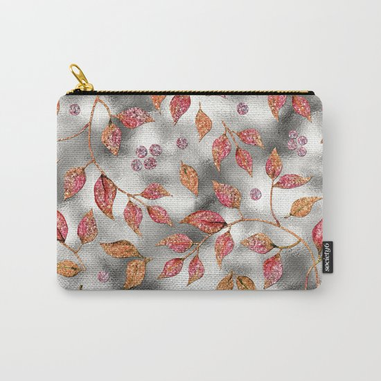 Autumworld- Sparkling pink  glitter leaves on silver background #Society6 Carry-All Pouch