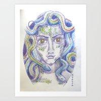 medusa Art Prints featuring MEDUSA by Pumpkinstrudel Studio