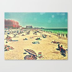 Beach Past and Present Canvas Print