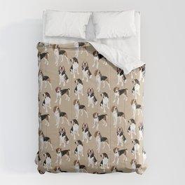 Treeing Walker Coonhounds on Tan Comforters