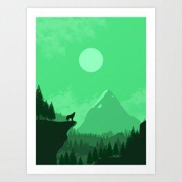 2D Wolf Amongst Mountain Ranges and Sunset - Green Art Print