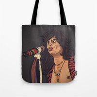 tyler spangler Tote Bags featuring Steven Tyler by Matheus Lopes