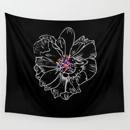 White stroke flower rainbow anthers Wall Tapestry