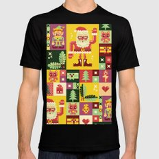 Christmas Geometric Pattern No. 1 Mens Fitted Tee LARGE Black