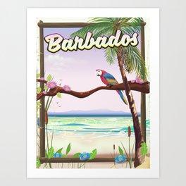 Barbados vintage parrot travel poster Art Print