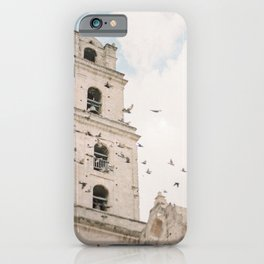Pigeons flying in front of Bell Tower in Havana | Cuba Travel | Caribbean Photography iPhone Case