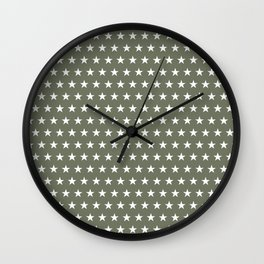White stars on olive green pattern Wall Clock