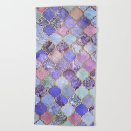Royal Purple, Mauve & Indigo Decorative Moroccan Tile Pattern Beach Towel