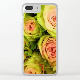 Green & Pink Bouquet Clear iPhone Case
