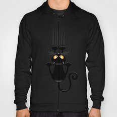 Black Cat Cartoon Scratching Wall Hoody