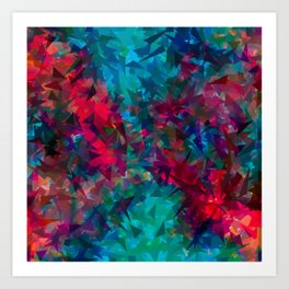 psychedelic geometric triangle abstract pattern in pink red blue Art Print