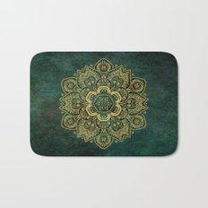 Golden Flower Mandala on Dark Green Bath Mat