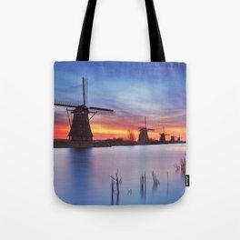 II - Traditional windmills at sunrise, Kinderdijk, The Netherlands Tote Bag
