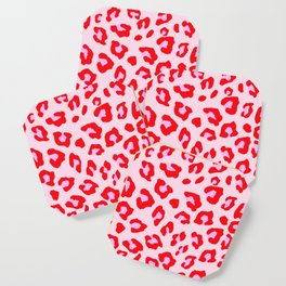 Leopard Print - Red And Pink Coaster