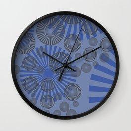Space Spirals blue design Wall Clock