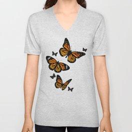 Vintage Monarch Butterflies in Flight Unisex V-Neck