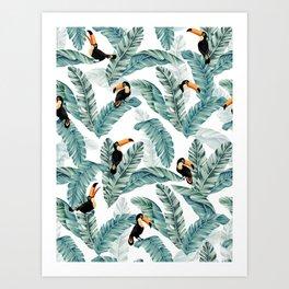 Toucans and Banana Leaves on White Art Print