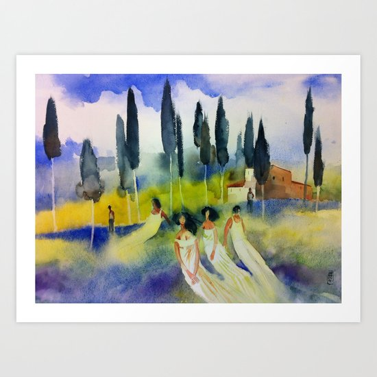 Rest on the hill Art Print