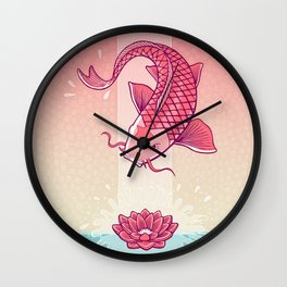 Perseverance // Koi & Lotus Wall Clock