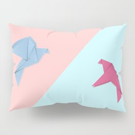 Paper pigeons blue and pink Pillow Sham