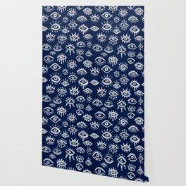 Mystic Eyes – White on Navy Wallpaper
