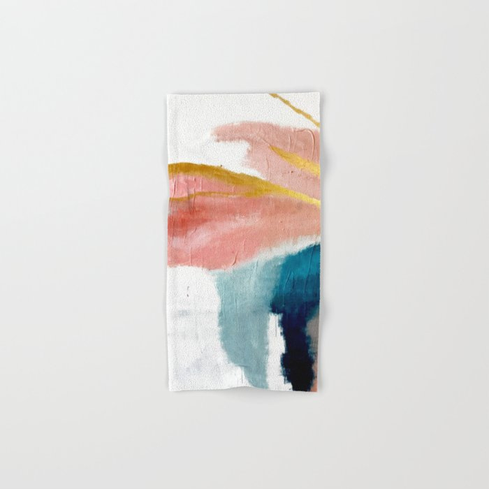 Exhale: a pretty, minimal, acrylic piece in pinks, blues, and gold Hand & Bath Towel