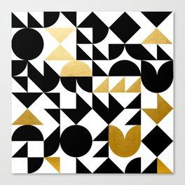 geometric black & gold Canvas Print