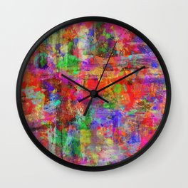 Vibrant Chaos - Mixed Colour Abstract Wall Clock