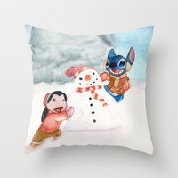 lilo and stitch Throw Pillows featuring Lilo and Stitch by Walko