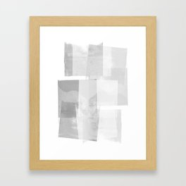 "Grey and White Minimalist Geometric Abstract ""Building Blocks"" Framed Art Print"