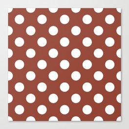 Chestnut - brown - White Polka Dots - Pois Pattern Canvas Print